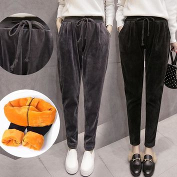 Bohemian  New Winter Add Fluff The Thickness of Loose Fashion Baggy Fashionable Golden Fleece Women Casual Harem Pants
