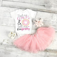 Feed me donuts and tell me I'm pretty baby bodysuit, newborn, 6 Month, 12 Month, and 18 Month, funny graphic, baby gift