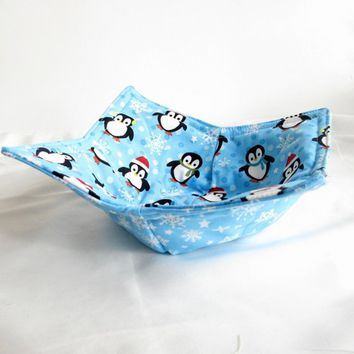 Microwave Potholder Bowl Cozy Penquin and Snowflake pattern in blue
