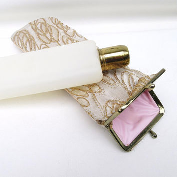 Vintage Ladies Flask, Gold Lame Purse, Flask Purse, Flasks for Girls, Liquor Bottle with Pouch Bag, Bridal Accessories