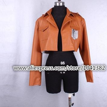 Cool Attack on Titan  Cosplay No  Cosplay Jacket Japanese Anime Brown Coat Women Man Adults AT_90_11
