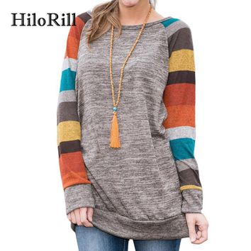 HiloRill T Shirt Women 2018 Spring Long Sleeve Striped Patchwork Female T-Shirt Top Tee Shirt Femme Harajuku Baseball Shirt XXXL