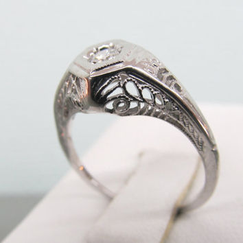 Art Deco Engagement Ring 18k White Gold Ring Vintage Diamond Ring Antique Wedding Ring Filigree Ring Size 6