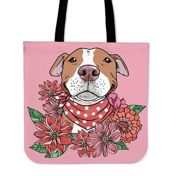 Illustrated Brown Pit Bull Linen Tote Bag - Promo
