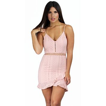 Ace of Lace Mauve Crochet Mini Dress