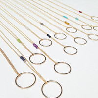 Gold Gem Circle Short Necklaces