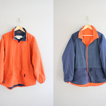 2 in 1 Reversible Columbia Jacket Orange Windbreaker Fleece Jacket Cinched Waist Parka Unisex 90s Vintage Sport Size M - L
