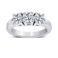 3 carat Round diamonds three stone engagement ring gold new