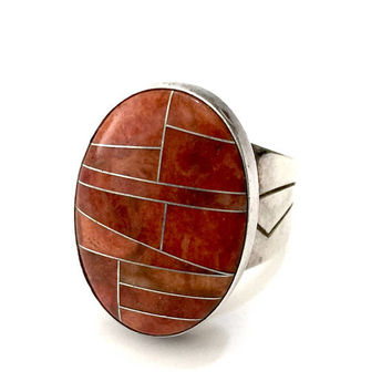 Sterling Silver Spiny Oyster Ring, Jay King DTR Hallmarked, Beautifully Inlayed Oval Face, Chic Southwestern Style Statement Ring, Size 8