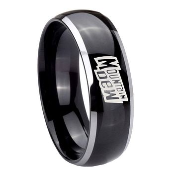 8MM Glossy Black Dome Mountain Dew 2 Tone Tungsten Laser Engraved Ring