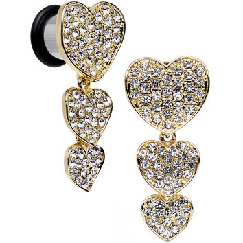 00 Gauge Clear Gem Steel Triple Heart Single Flare Dangle Plug Set