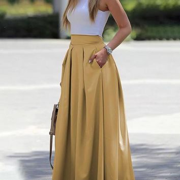 Yellow Pleated Pockets Tutu High Waisted Homecoming Party Long Skirt