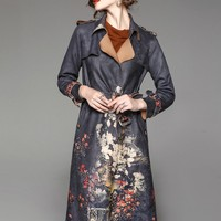 Floral Print Suede Trench Coat