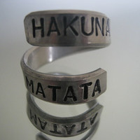 Hakuna matata ring, Disney, Personalized ring, gifts for best friends, mens gifts, aluminum ring, hakuna matata, Valentine Day