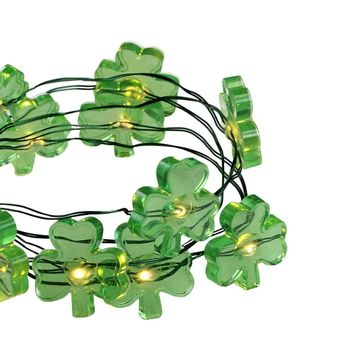 Set of 18 Shamrock LED Micro Fairy St. Patrick's Day Lights - Ultra Thin Green Wire