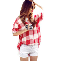 Spring Summer Style Sexy Women Blusas Loose Long Sleeve Plaid Casual Blouse V-Neck Sexy Shirt OL Tops Plus Size XXL