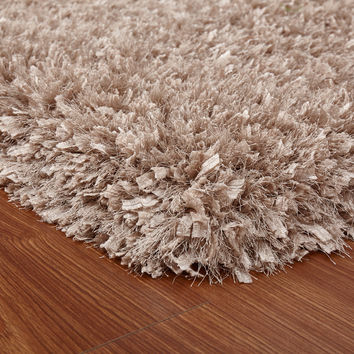Crystal Shag Beige Hand Tufted Area Rug