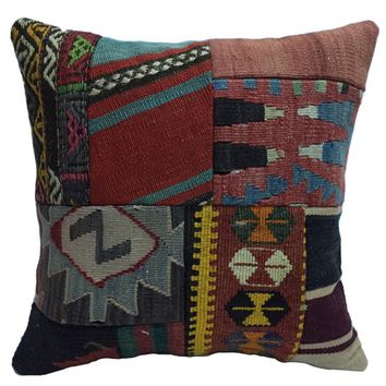 40x40 '16x16' handmade pillow, good quality pillow case, pillow cover, hand woven patch work, embroidered decorative vintage pillow cushion