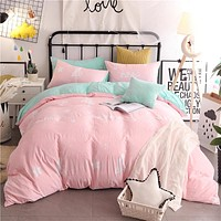 Cartoon Powder White Stars Pattern 3/4pcs Bedding Sets/Bed Set/Bedclothes For Kids/Bed Linen Duvet Cover Bed Sheet Pillowcase