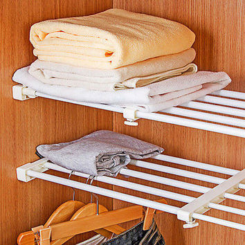 Telescopic Storage Rack Wardrobe Bathroom Kitchen Storage Cabinet Organizer HU