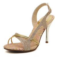 Elegant Gold Slingback Ankle Strap Party Heels