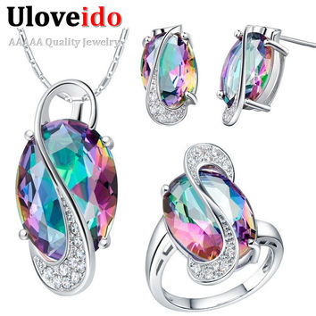 Jewelry Set Necklaces & Pendants Earrings Ring Crystal 925 Silver Wedding Jewelry Sets Rhinestone Simulated Diamond Ulove T155