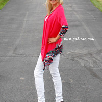 Coral Knit Cardigan with Aztec Edge