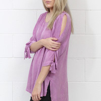 Mineral Washed Tie + Cut Out 3/4 Sleeves Tunic {Mauve}