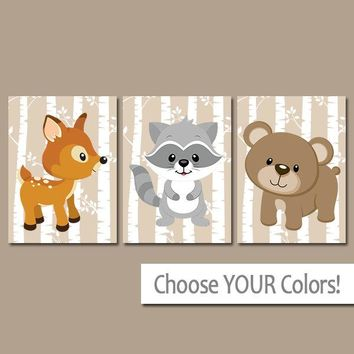 WOODLAND Nursery Decor, CANVAS or Prints, Woodland Animals Wall Art, DEER Bear Raccoon, Wood Forest Friends, Birch Tree, Set of 3 Wall Decor