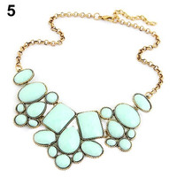 Sweet Nice Women's Resin Bubble Pendant Collar Chain Statement Necklace Multicolor = 1946753732