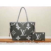LV Selling Fashion Colour-Coloured Full-Printed Single Shoulder Bag Two-piece Set for Ladies Green