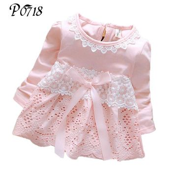 2018 Spring Autumn Long Sleeve Baby Dress Lace Bow Party Birthday Kids Girls Dresses Cotton Infant Little Girl Sweet Clothes
