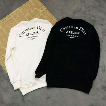 DIOR autumn and winter new tide brand curved logo printing men and women with the same paragraph round neck pullover sweater