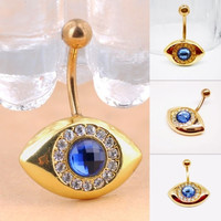 Surgical Steel Navel Button Blue Rhinestone Evil Eye Barbell Bar Pierced Belly Ring = 1645435396