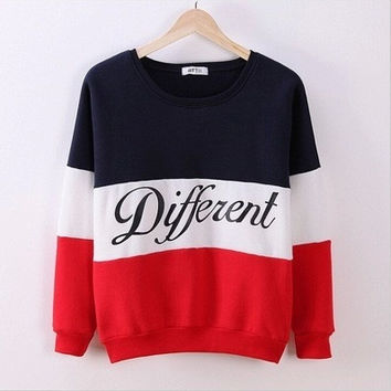 2016 Trending Fashion Mixed Color Women Sports Hoodies Long Sleeve Round Necked Alphabets Words Shirt Top _ 1693
