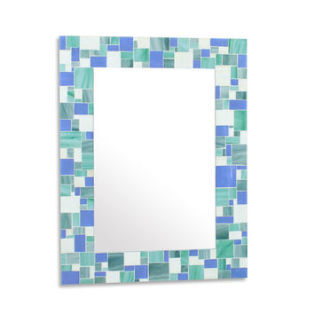 Decorative Mosaic Beach Bathroom Wall Mirror in Blues, Sea Green and White Stained Glass Tiles, Various Sizes Coastal Mirror