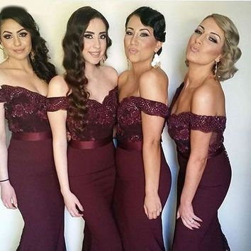 New Arrival Red Burgundy Mermaid Bridesmaid Dresses With Appliques Lace Cap Sleeves Wine Red Brides Maid Dress