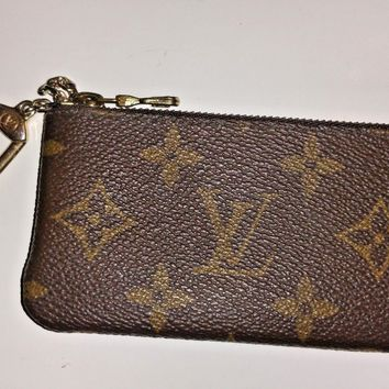 Louis Vuitton Authentic Key Pouch, Monogram Canvas, Key Holder Cles Style M62650