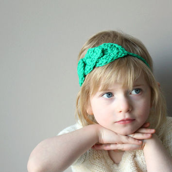 Leafy Halo Headband . Adjustable Hair Accessory for Girls and Women . Tie On Head Wrap - Leafy Green