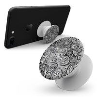 Black and White Aztec Paisley - Skin Kit for Pop Sockets and other Smartphone Extendable Grips & Stands