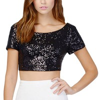 CRAZY POMELO® Women's luxury sequins round neck short undershirt - XS