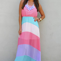 Pastel Class Maxi Dress: Coral/Multi | Hope's