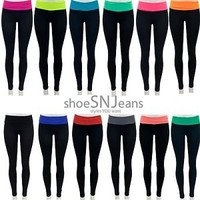 NEW Yoga Athletic Yoga Workout Training Lounge Color Fold Over Skinny Pants