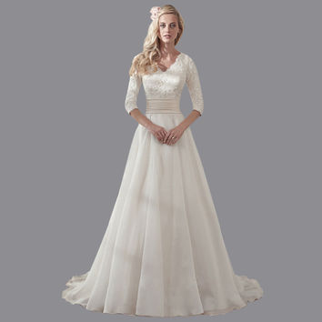Cheap A-line V Neck Beaded Vestido De Novia Vintage 2016 Organza White/Ivory Wedding Dress Bridal Dresses With Sleeves AS146