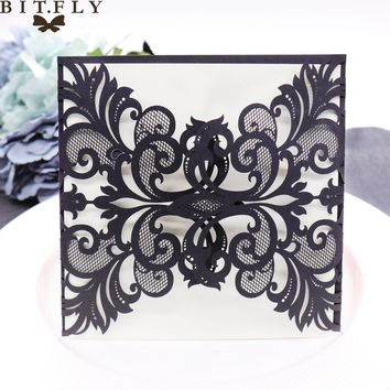 Romantic hollow party  decoration purple  invitation card colorful laser cut wedding birthday paper blessing card supplies