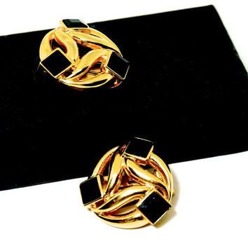 Signed Oscar de la Renta Earrings,Vintage Designer Earrings,Black & Gold Tone Earrings,Clip-on Earrings,80s Earring,High End Costume Jewelry