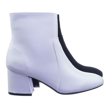 Wishlist01 Plain Block Heel Ankle Bootie Pump w Side Zipper Closure