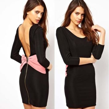 Black Sleeve Backless Bow Back Zip Dress