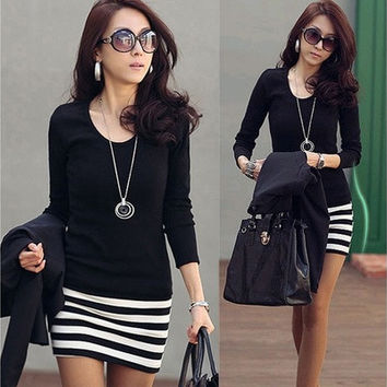 New Korean Ladies Large Size Fashion Slim Striped Dress VVF [8805236487]