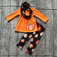 new arrivals FALL/Winter Halloween pumpkin 3pieces scarf black orange pant sets baby girls print boutique clothes kids wear sets